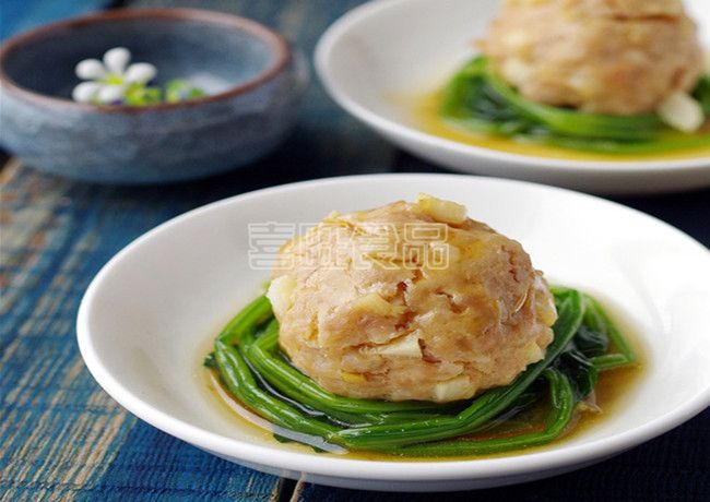 营养餐之菠菜蒸喜旺肉丸