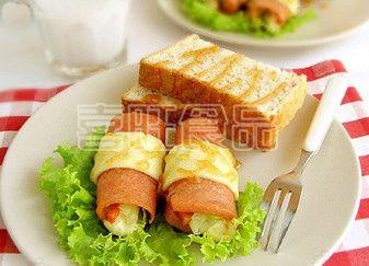 喜旺营养早餐之火腿蔬菜卷